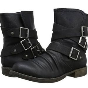 Sugar impress black triple buckle heeled boots